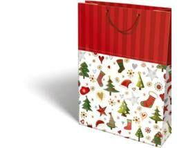 Karácsonyi ajándéktáska Santa 32x28x6,5 cm