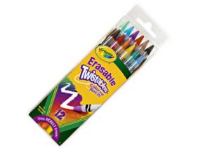 Crayola - Csavarozható színes ceruza, radírozható - 12 db-os