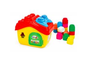 Clemmy - Bébi építőjáték - Házikó tárolóban, 15 db-os