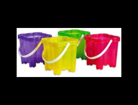 Bástyás homokozóvödör, szögletes - átlátszó lányos színekben