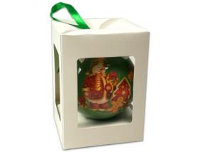 Hóember-mézi - gömb karácsonyfadísz - zöld