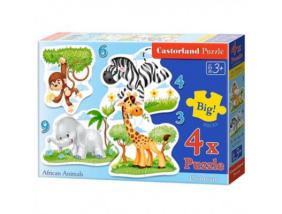 Afrikai állatok 4 az 1-ben puzzle