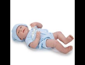 Berenguer - Mosolygós élethű játékbaba kék pöttyös ruhában - 38 cm