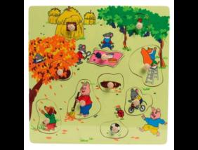 Fajáték - Fogantyús puzzle - ősz