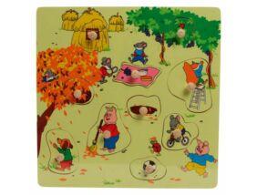 Fajáték- Fogantyús puzzle ősz