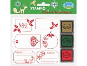 Nyomdakészlet - karácsonyi címkék 4 3 festékpárnával