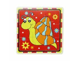 Fajáték-Puzzle 9 db-os csigás