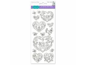Színezhető matricák - Rózsa és szív 10x23 cm