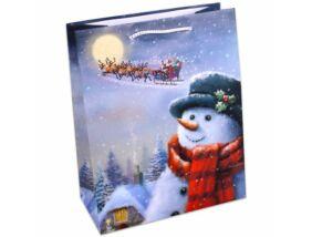 Karácsonyi ajándéktáska közepes, Hóember és szán