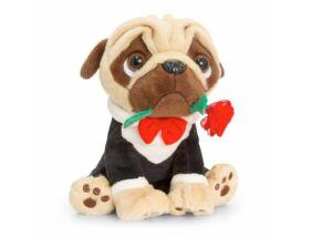 Valentin napi Öltönyös mopszly rózsával a szájában