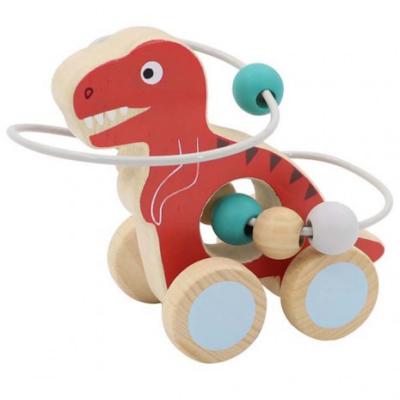 Fajáték - Gurulós golyóvezető (piros Tirannoszaurusz)