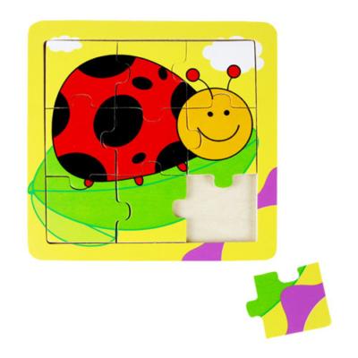 Fajáték - Puzzle - 9 db-os - katicás