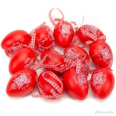 Húsvéti tojás - hímes, piros - 12 db-os