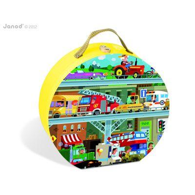 Janod - Járművek puzzle bőröndben - 100 db-os