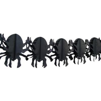 Halloween - Fekete pók girland - 4m