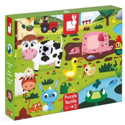 Janod - Tapintós puzzle - Farm állatok - 20 db-os