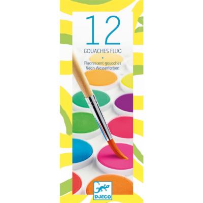 Djeco - Korongos gouache festék - 12 szín