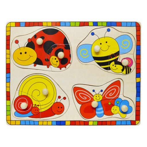 Fajáték - Fogantyús puzzle - katicás