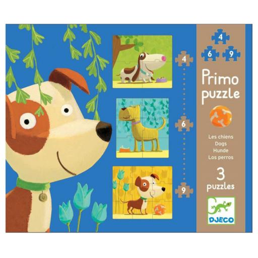 Djeco - Kutyák puzzle - 4,6,9 db-os
