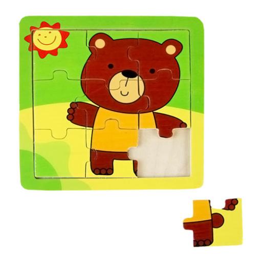 Fajáték - Puzzle 9 db-os - barna macis