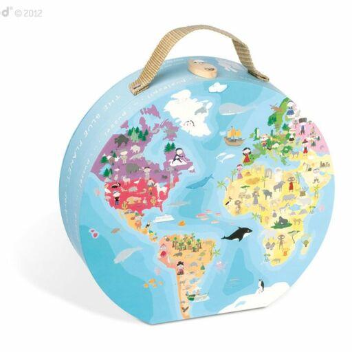 Janod-Dupla oldalas Föld puzzle bőröndben