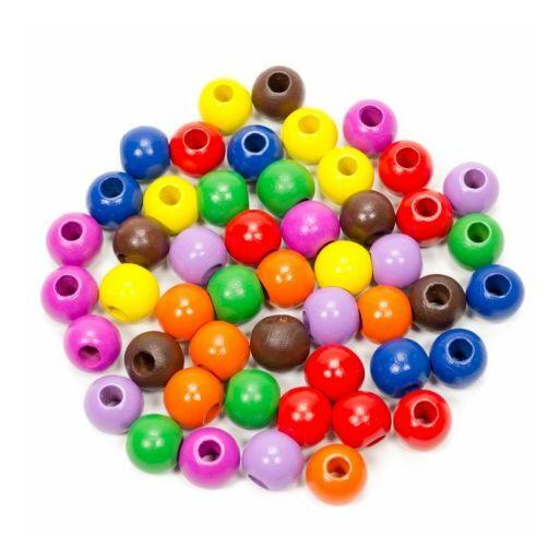 Fajáték-Fagolyó színes 16 mm,50 db-os
