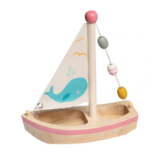 Fajáték - Fa vitorlás hajó (rózsaszín)