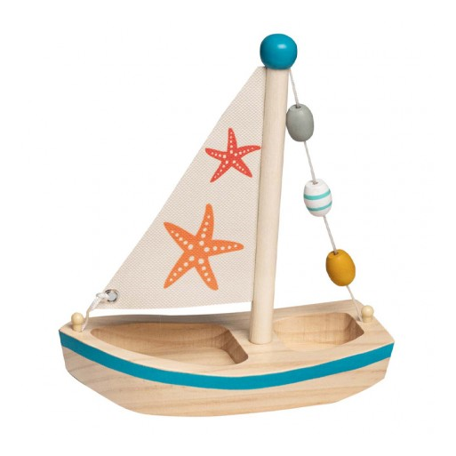 Fajáték - Fa vitorlás hajó (kék)