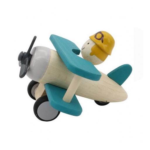 Fajáték - Gurulós repülő (kék)