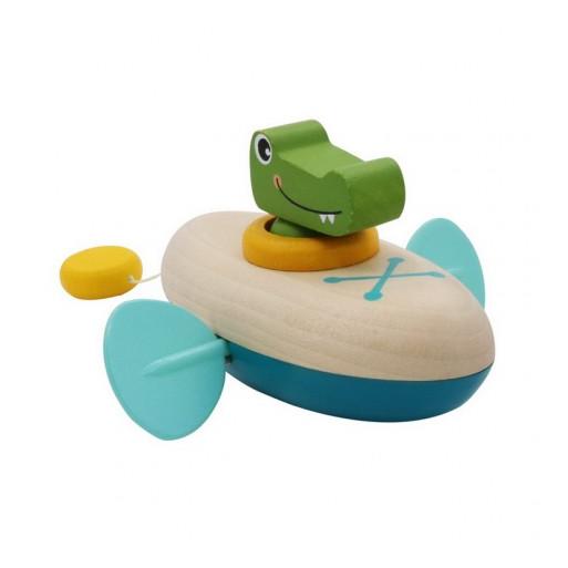 Fajáték - Lendkerekes mini kenu (krokodil)