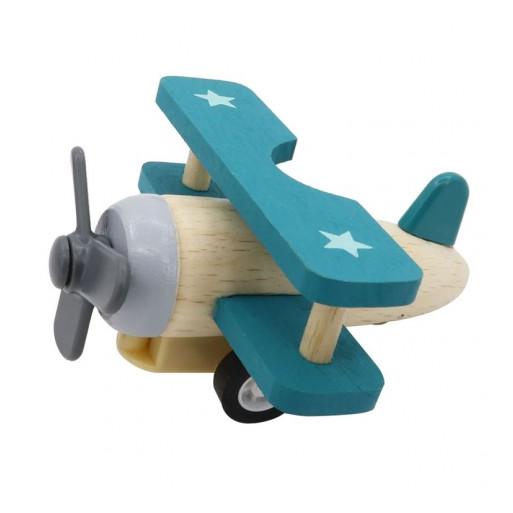 Fajáték - Lendkerekes mini repülő (natúr-kék)