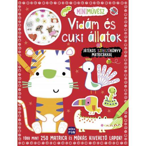 Mini művész - Vidám és cuki állatok színezőkönyv matricákkal