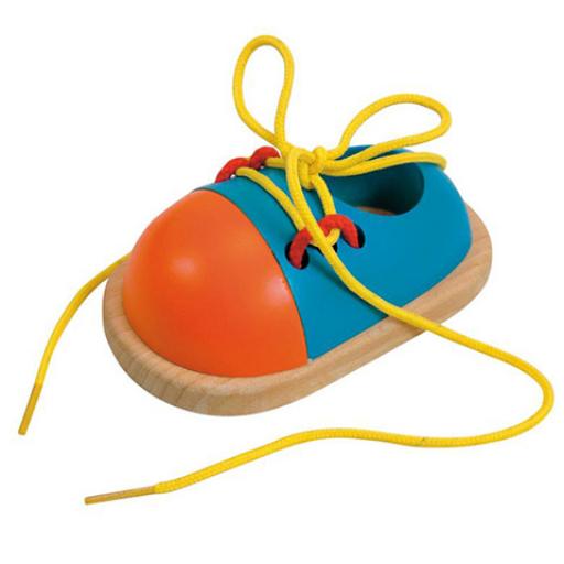 Woodyland - Színes fa játék cipőcske fűzővel