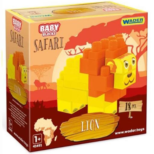 Baby Blocks - Safari oroszlán építőjáték szett - 18 db
