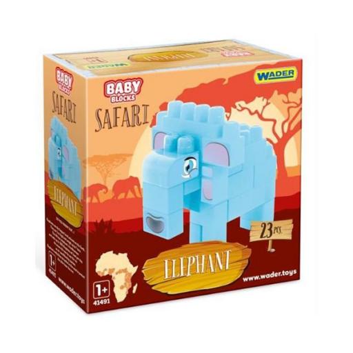Baby Blocks - Safari elefánt építőjáték szett - 23 db