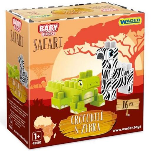 Wader - Baby Blocks - Safari zebra és krokodil építőjáték szett - 16 db