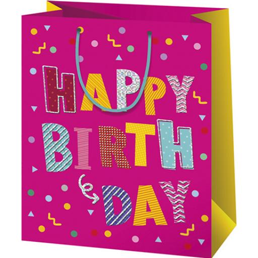 """Ajándéktáska - rózsaszín, """"Happy Birthday"""" feliratú - nagy - 26x13x33 cm"""