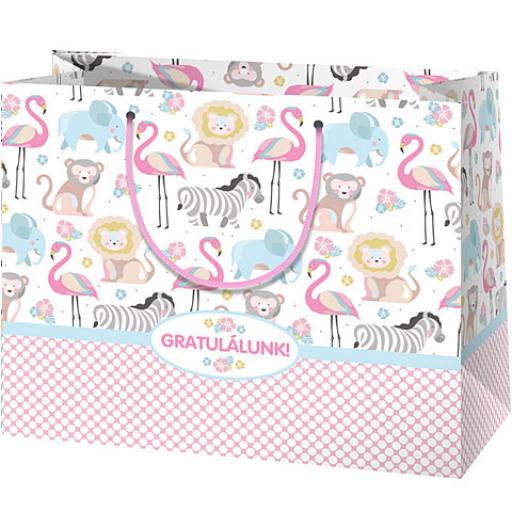 Ajándéktáska (rózsaszín) - állatos mintával, 'Gratulálunk felirattal' - közepes - 18x10x23 cm