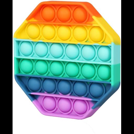 Pop it szivárvány színben - antistressz játék - nyolcszög