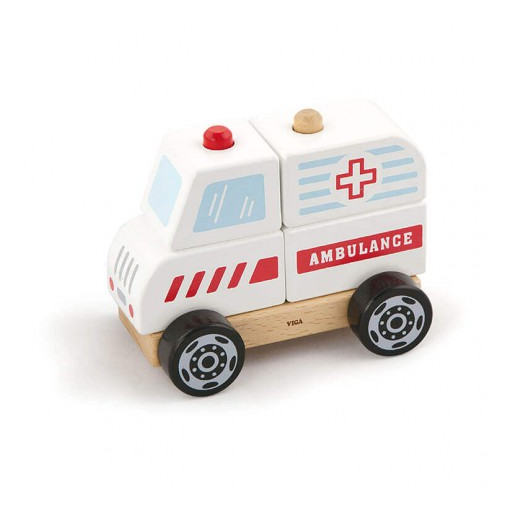 Fajáték - Szétszedhető mentőautó - nagy