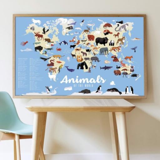 Poppik - Kreatív, fejlesztő óriásplakát - 67 matricával - Világ állatai