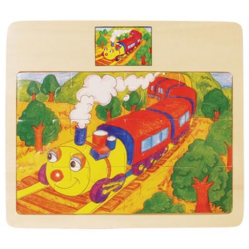 Fajáték - Puzzle 12 db-os - vonatos