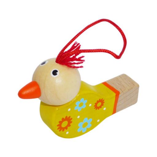 Fajáték - Síp - madárkás, sárga