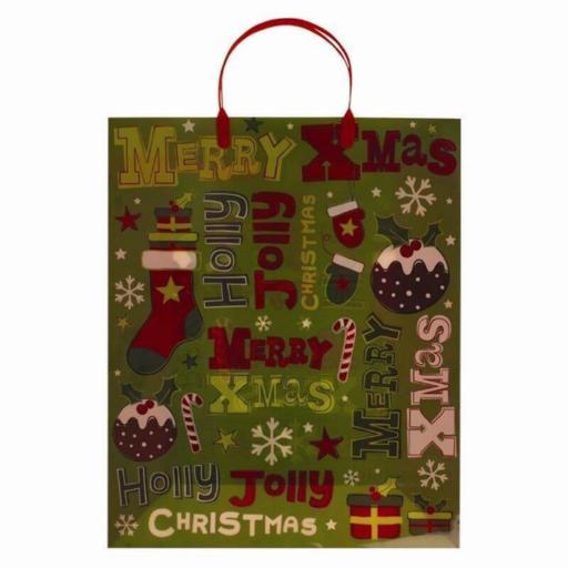 Karácsonyi ajándéktáska - műanyag - nagy 47x32x12 cm