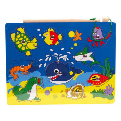 Fajáték - Mágneses horgász-puzzle - teknősbékás