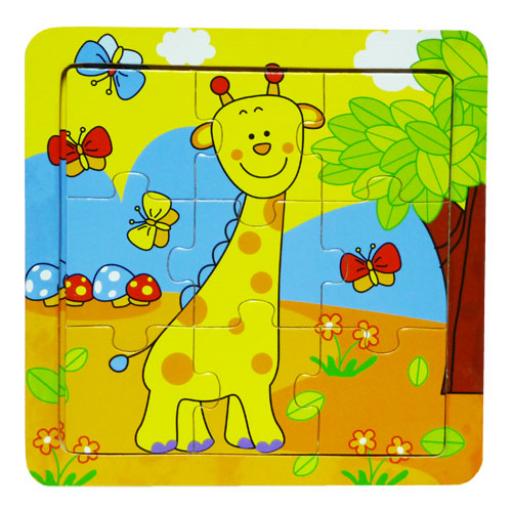 Fajáték - Puzzle 9 db-os - zsiráfos