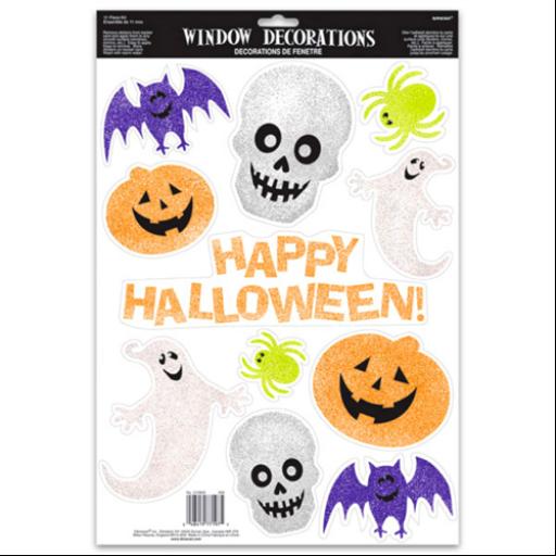 Csillámos Halloween ablak dekoráció