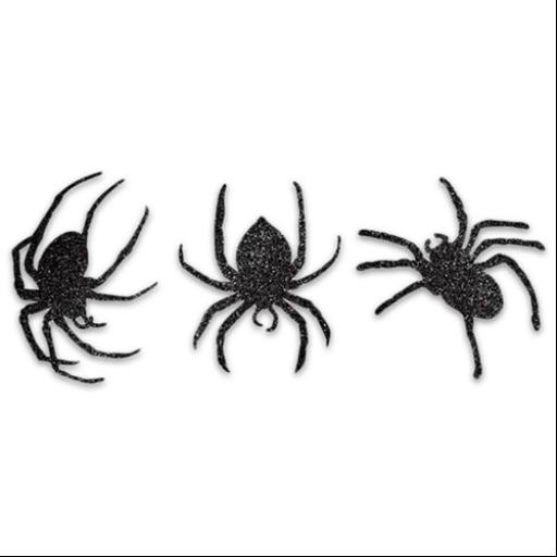 Halloween dekoráció - Glitteres pókok