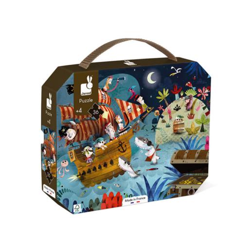 Janod - Kalózok puzzle bőröndben - 36 db-os