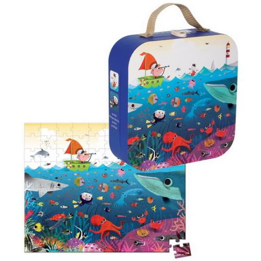 Janod - Víz alatti világ puzzle bőröndben - 100 db-os